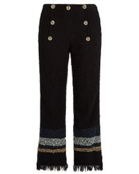 Sonia Rykiel - Frayed-hem Cropped Tweed Trousers - Lyst