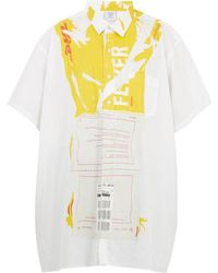 Vetements - Dhl Crease-print Oversized Cotton Shirt - Lyst