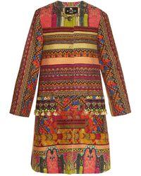 Etro - Pompom Embellished Woven Coat - Lyst