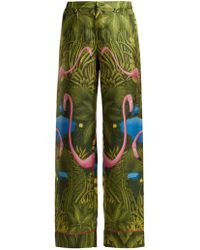 F.R.S For Restless Sleepers - Etere Flamingo Print Silk Trousers - Lyst