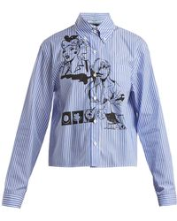 Prada - Comic-print Striped Cotton Shirt - Lyst