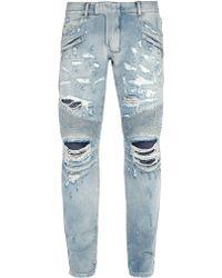 Balmain - Blue Classic Biker Jeans - Lyst