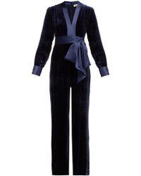 Diane von Furstenberg - Satin-trimmed Velvet Jumpsuit - Lyst
