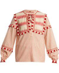 Dodo Bar Or - Emanuelle Fringe Embellished Striped Cotton Top - Lyst