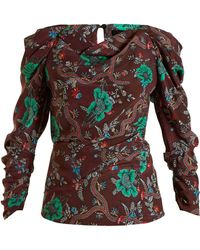 Isabel Marant - Crem Floral Print Silk Top - Lyst
