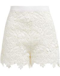 Giambattista Valli - High Rise Guipure Lace Cotton Blend Shorts - Lyst