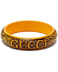 Gucci - Logo And Snake Carved Resin Bangle - Lyst