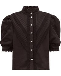 Acheval Pampa Yegula Pintuck Lace Trim High Neck Blouse - Black
