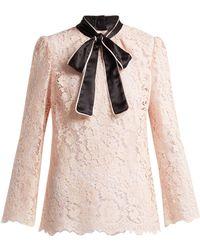Dolce & Gabbana - Lace Satin Neck Tie Blouse - Lyst