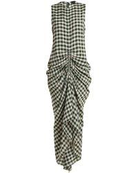 Joseph | Zadie Sleeveless Ruched Gingham Dress | Lyst