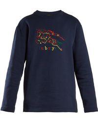 Burberry - Logo-embroidered Cotton-blend Jersey Sweatshirt - Lyst