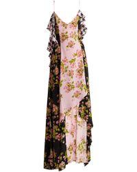 Natasha Zinko - Floral Houndstooth Asymmetric Slip Dress - Lyst