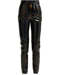 Balmain - Pantalon ajusté en vinyle à ourlets zippés - Lyst