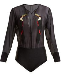 Adriana Degreas - Embroidered Toucan Bodysuit - Lyst