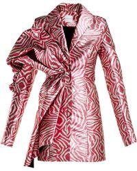 Halpern - Zebra Print Lamé Mini Dress - Lyst