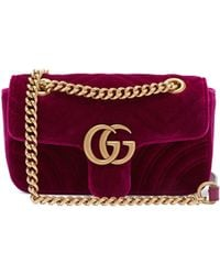 Gucci - Gg Marmont Mini Quilted Velvet Cross Body Bag - Lyst