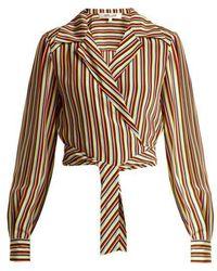 Diane von Furstenberg - Paxton Striped Silk Cropped Blouse - Lyst
