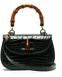 Gucci - Bamboo Handle Crocodile Leather Bag - Lyst