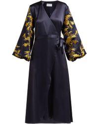 OSMAN - Embroidered Satin Wrap Dress - Lyst
