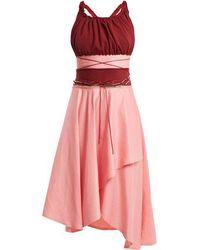 JW Anderson - Off-the-shoulder Contrast-panel Dress - Lyst