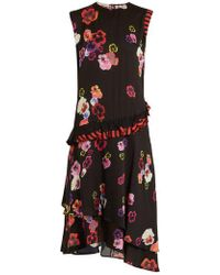 Preen Line - Cassia Pansy-print And Striped Crepe Dress - Lyst