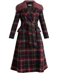 Miu Miu   Faux Shearling-trimmed Checked Wool-tweed Coat   Lyst