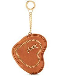 Saint Laurent - Love Heart Shaped Whipstitched Leather Coin Purse - Lyst