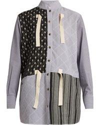 J.W.Anderson - Contrast-print Striped Cotton-gauze Shirt - Lyst