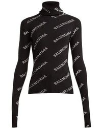 Balenciaga - Logo Ribbed-knit Roll-neck Hooded Jumper - Lyst