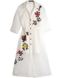 House of Holland | Floral-embroidered Silk Shirtdress | Lyst