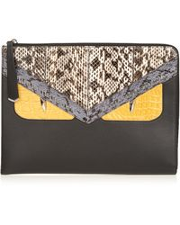 Fendi - Crayons Bag Bugs Crocodile And Snakeskin Pouch - Lyst