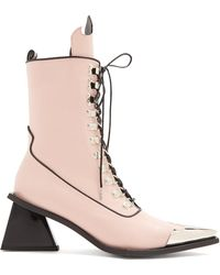Marques'Almeida - Point-toe Lace-up 'ma' Leather Ankle Boots - Lyst