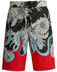 Prada - Chrysanthemum And Flame Print Swim Shorts - Lyst