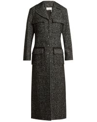 Chloé - Tweed Wool Blend Single Breasted Coat - Lyst