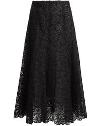 Rebecca Taylor | Malorie Floral-lace Embroidered Silk Skirt | Lyst