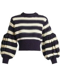 Self-Portrait - Striped Open-knit Cotton And Wool-blend Jumper - Lyst