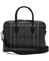 Burberry - The Barrow House-check Leather Briefcase - Lyst