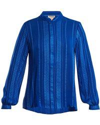 Zeus+Dione - Hera Geometric-jacquard Silk-blend Shirt - Lyst