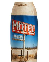 N°21 - Motel-print Duchesse-satin Midi Skirt - Lyst