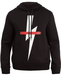 Neil Barrett - Crossed-out Bolt Graphic Hooded Jumper - Lyst