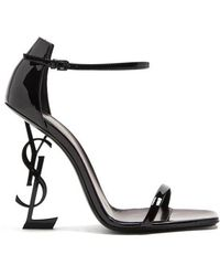 Saint Laurent - Opyum Logo-heel Patent-leather Sandals - Lyst