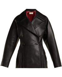 Sara Battaglia - Double-breasted Faux-leather Jacket - Lyst