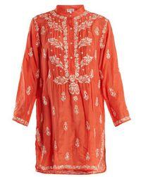 Juliet Dunn - - Floral Embroidered Silk Shirtdress - Womens - Red - Lyst