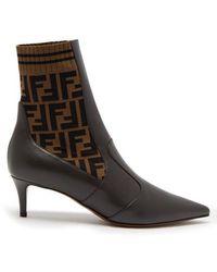 Fendi - Point-toe Leather Sock Boots - Lyst