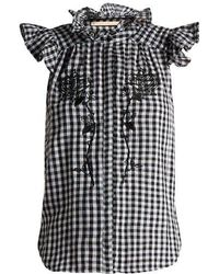 Bliss and Mischief - Rose-embroidered Gingham Cotton Top - Lyst