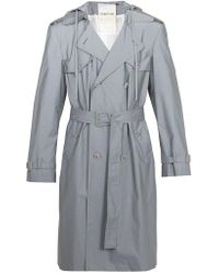 Helmut Lang - Reflective Double-breasted Hooded Trench Coat - Lyst