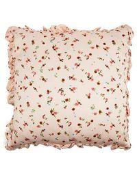 Preen By Thornton Bregazzi - Floral Silk Satin Cushion - Lyst