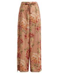Zimmermann - Corsair Tie Floral-print Cotton Trousers - Lyst