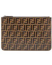 Fendi - Ff Logo Leather Pouch - Lyst