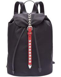 Prada - New Vela Studded Nylon Backpack - Lyst